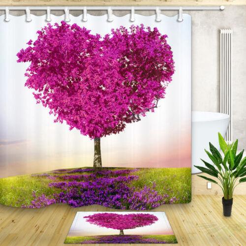 """Romántico Corazón árbol Baño Cortina de ducha de tela impermeable y 12 Ganchos 71x71/"""""""