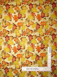 Autumn-Fall-Leaves-Acorn-Leaf-Cotton-Fabric-QT-24500-E-Harvest-Bounty-Yard