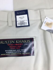 NEW-Mens-Austin-Clothing-Co-Flat-Front-Khaki-Pants-Size-44X32
