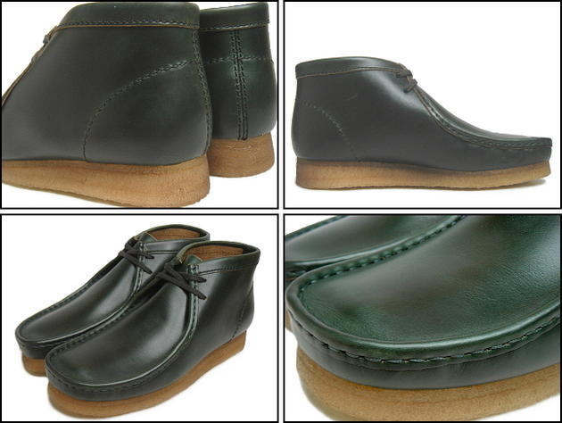 Clarks Originals  WALLABEES BOOT LEATHER  GREEN HORWEEN LEATHER BOOT  UK 10 / 10.5 5af85e