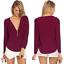 thumbnail 12 - Sexy Womens V-Neck Chiffon Tops Blouse Loose Long Sleeve Shirt Blouse Large Size