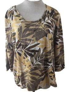 Caribbean Joe knit top size XL brown tan Hawaiian print 3/4 sleeve