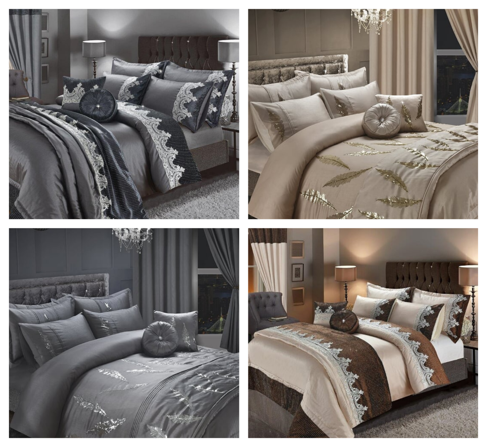 LUXURY FAYE ALESSIA EMBROIDERY DUVET SET CUSHIONS CURTAINS BED THROW+SHAMS