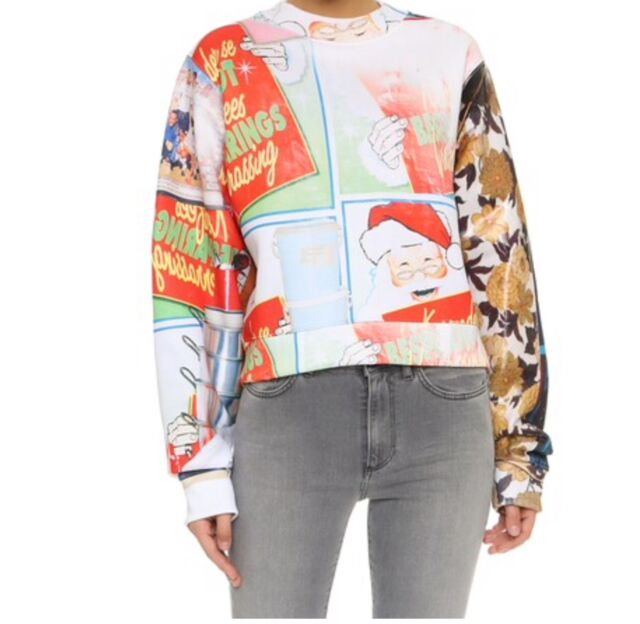 NWT Acne Studios Women Bird Fleece Red Santa Sweatshirt Size M