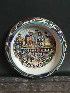 """Amazing Souvenir Cermic Ashtray With Great Painting Of Jerusalem Colorful 4.5"""""""