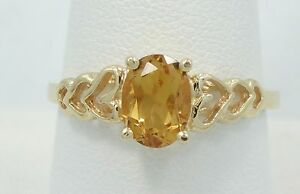 Gorgeous-14K-Yellow-Gold-Oval-Cut-Citrine-Open-Heart-Band-Ring-Sz8-5-B2068