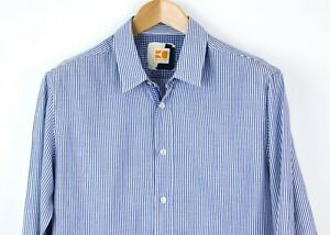 Hugo-Boss-Naranja-Hombre-Cliffe-Manga-Larga-Rayas-Camisa-Informal-Talla-L-MZ621