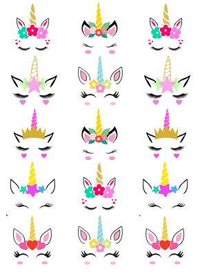 Unicorn Head Ears Horn Cupcake Toppers Edible Wafer Paper