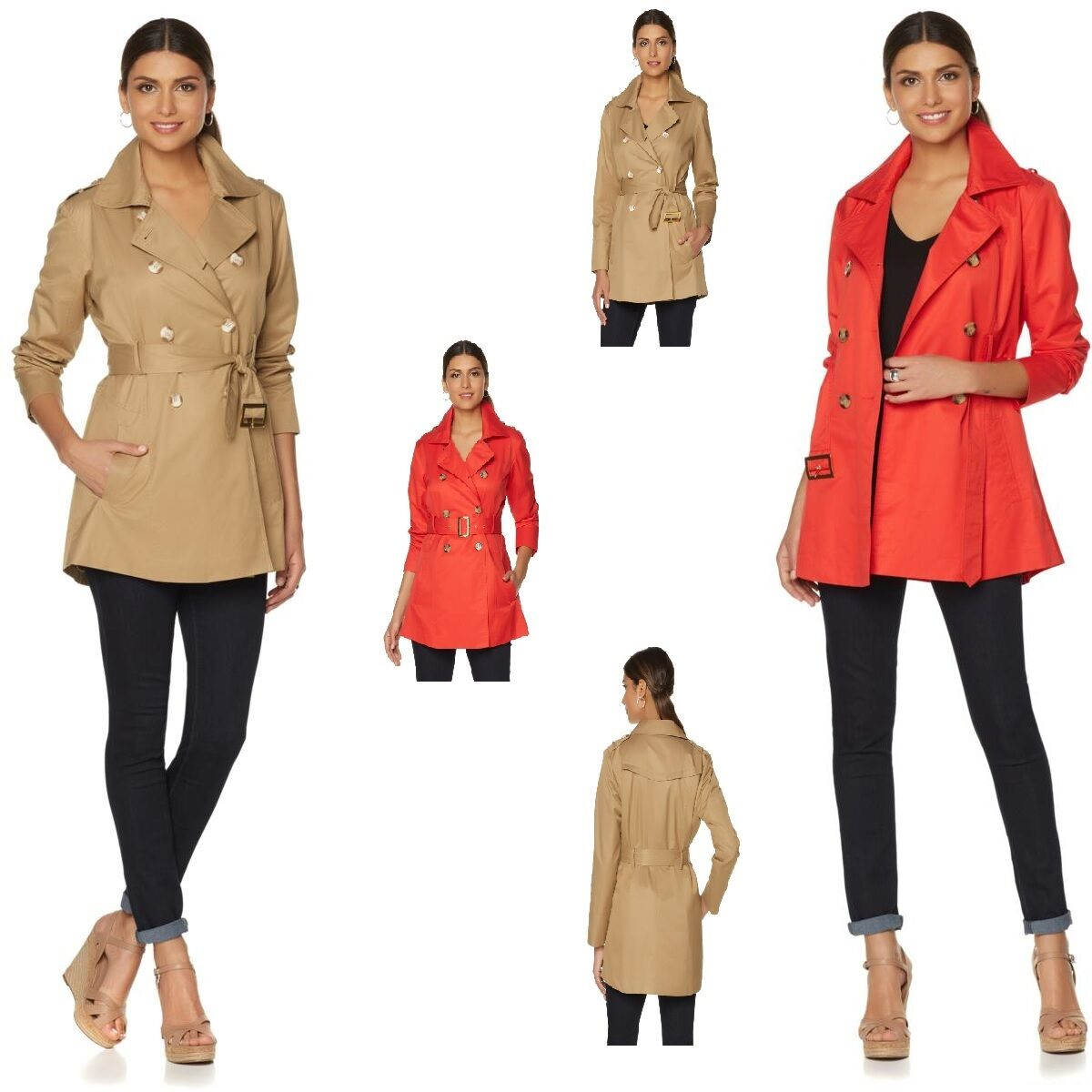 149.99 Samantha Brown All-Weather Trench Coat 488561J (Plus, Aurora Red)  59.99
