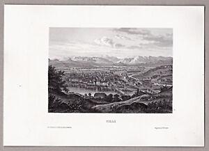 Celje-Cilli-Slowenien-Gesamtansicht-Grafik-Stich-Stahlstich-um-1850