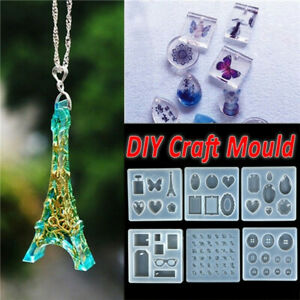 Heart Butterfly Crystal Epoxy Pendant DIY Silicone Jewelry