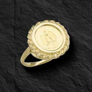 35ee34496827d Details about 14K Gold 18 MM LADIES COIN RING with a 22K MEXICAN DOS PESOS  Coin