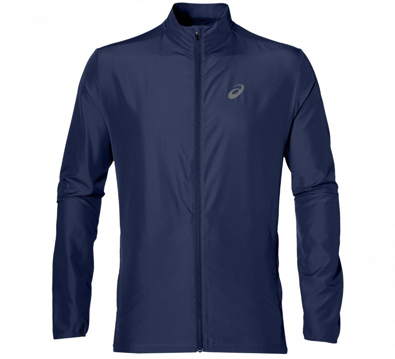 Asics Men's Running Jacket Full Zip Sports Running Jacket - Indigo Blue - New