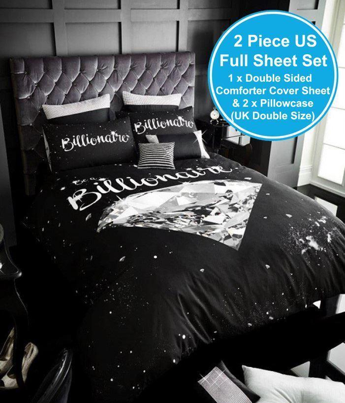 BILLIONAIRE DIAMOND UK DOUBLE US FULL UNFILLED DUVET COVER & PILLOWCASE SET NEW