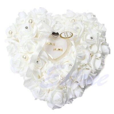 Elegant Rose Wedding Favors Heart Shaped Gift Ring Box Pillow Cushion Decoration