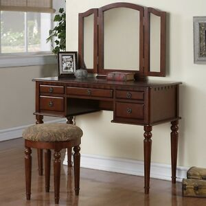Image Is Loading Tri Folding Mirror Vanity Set Makeup Table Dresser