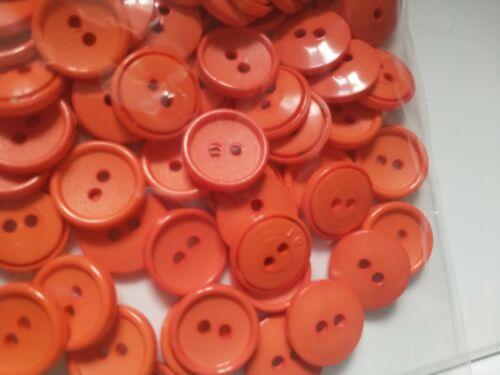 Naranja Brillante 10 Botones de Conejo redondo de poliéster 2 orificios 18mm