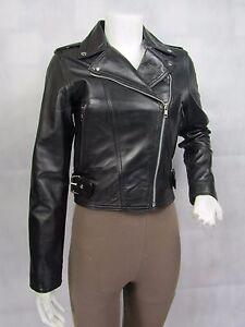 à noire en ajustée cuir noir avec ajustée ajustée dames Veste glissière et pour fermeture y7Ybgf6v