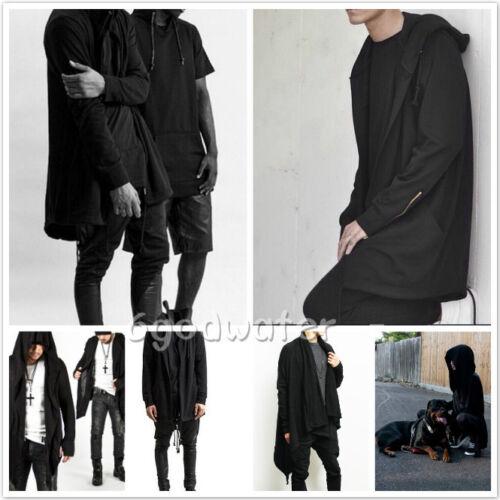 Men hooded jacket long cardigan black ninja goth gothic punk hoodie Black//White
