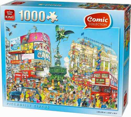 Puzzle 1000 PEZZI-FUMETTO A Piccadilly Circus Taxi Bus Londra Inghilterra 55889