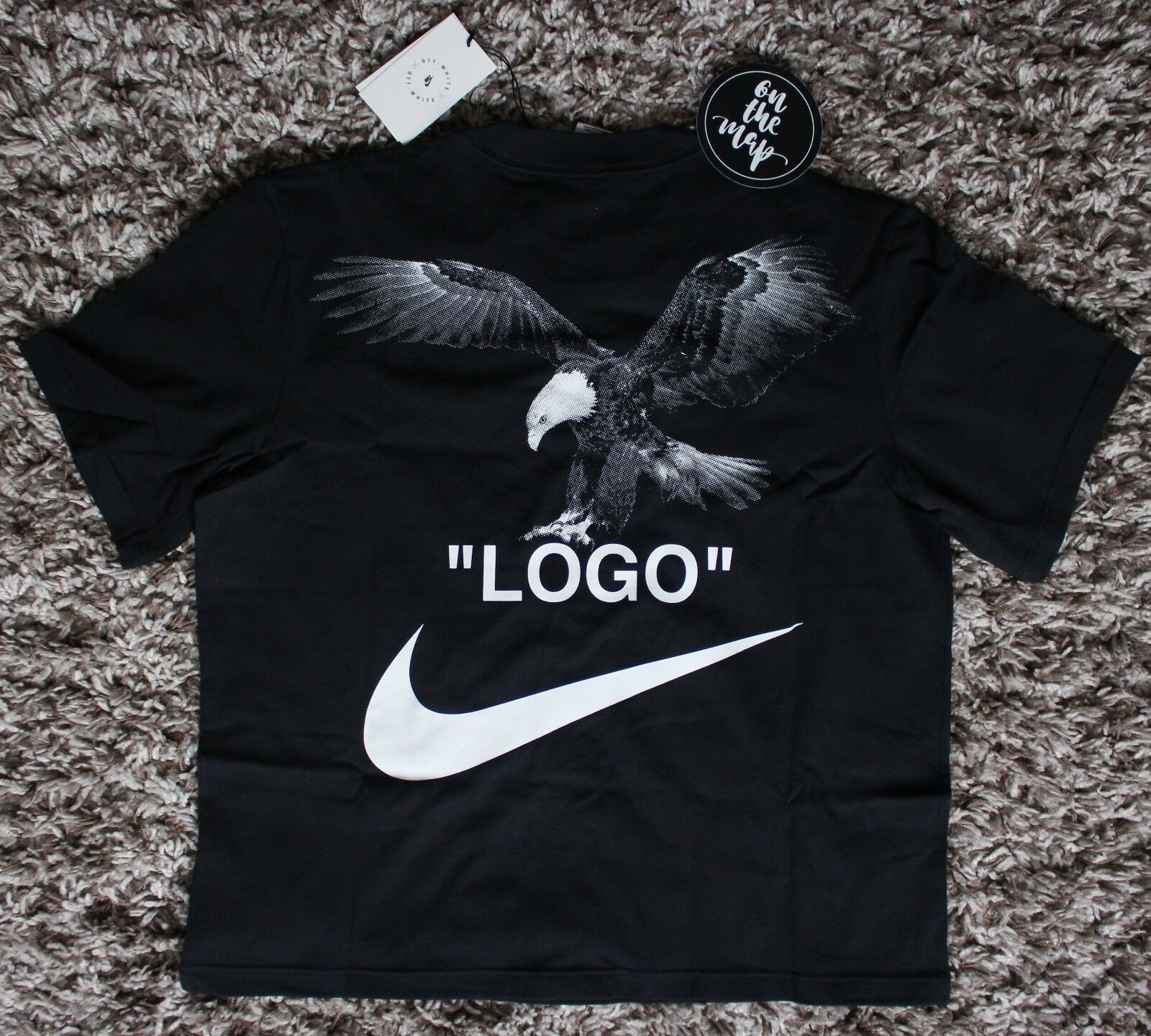 low cost a31be e1714 Nike Off White Logo Football Mon Amour T-Shirt Tee Black Small Medium S M  New