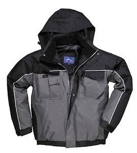 Impermeable-chaqueta-de-abrigo-para-hombre-Bomber-forrado-de-dos-tonos-Portwest-Al-Aire-Libre-Talla
