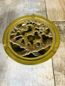 Vintage-Brass-Round-2-Piece-Ashtray-Removable-Top-4-1-2-034-3-Slot-Free-Shipping