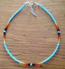 """Angel Wing Charm Turquoise Multicoloured Glass  Seed Bead 11"""" Anklet"""