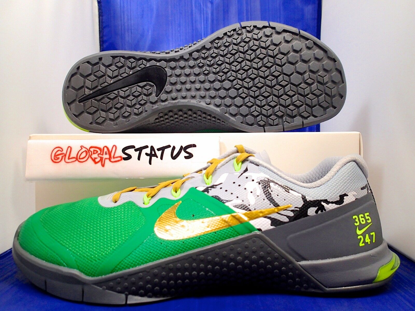 MENS NIKE ID METCON 2 GREEN GREY CAMO PRINTED CROSS FIT SHOES 846027 991 SIZE 11