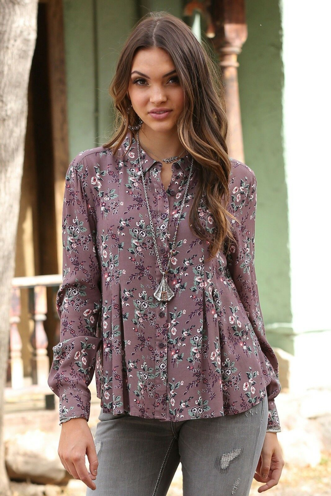 Cruel Girl Woherren Mauve Floral Button Up Western Shirt CTW7177002