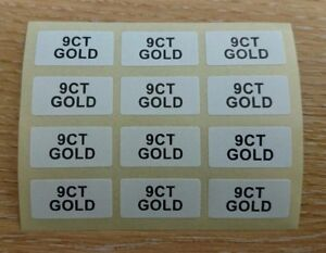 9CT-GOLD-Jewellery-Labels-Stickers-20mm-x-10mm-Gold-on-White-or-Black-on-White