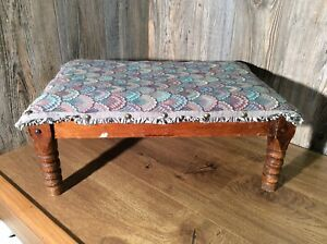 Antique-Ottoman-Footstool-Upholstered-And-Wood-Steel-Band-Springs-G5