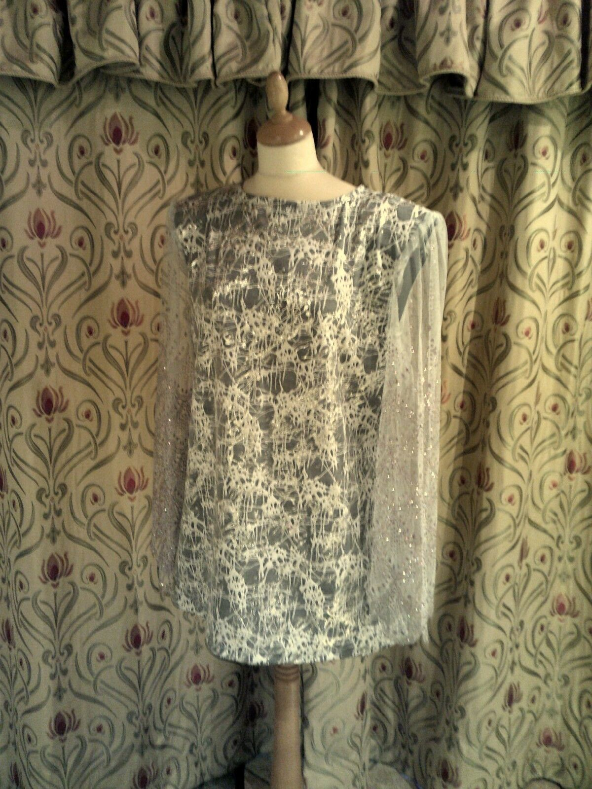 Drag Queen Grey/Silver SHORT Dress size:16/18