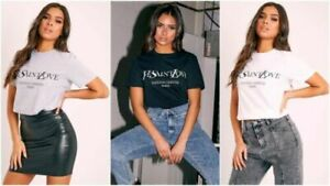 Womens-Ladies-Short-Sleeve-039-Yves-Saint-Love-039-Slogan-Printed-T-shirt-Tee-Tops