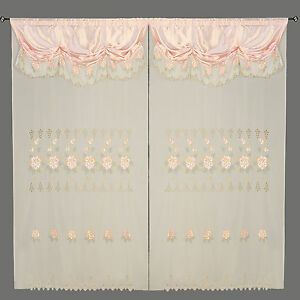Peach Pink Room Decor Embroidery Sheer Valence Window Curtain Drapes 60x90+18""