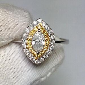 18ct-Oro-Blanco-impresionante-natural-Fantasia-Amarillo-Y-Blanco-Anillo-De-Diamantes-VS-G