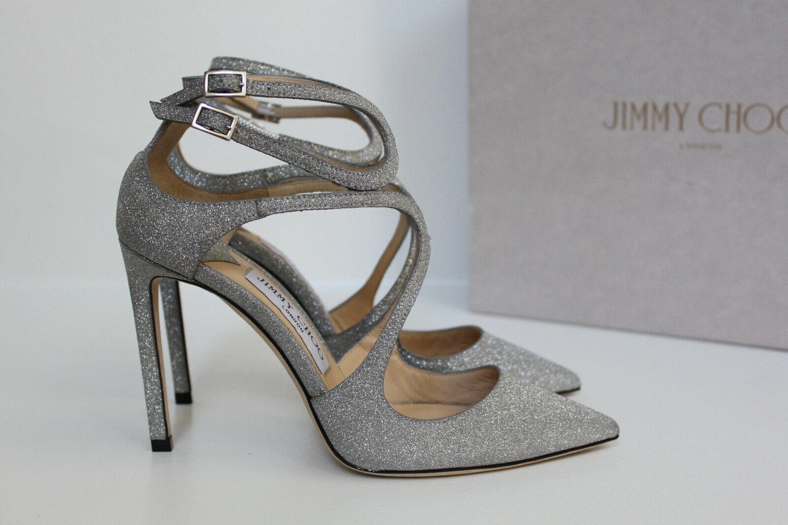 grandi prezzi scontati Sz Sz Sz 6   36 Jimmy Choo Lancer Strappy Fine Glitter Pointed Toe Ankle Pump scarpe  scelta migliore