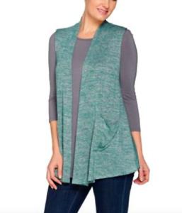 Green-Space-Dye-Knit-Vest-w-Satin-Trim-LOGO-by-Lori-Goldstein-Size-XS-QQ58
