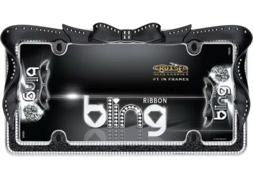 Black//Chrome Cruiser Accessories 18545 Ribbon Bling License Plate Frame