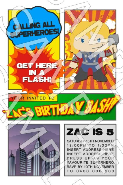 Personalised Boys Superhero Hero Thor Birthday Party Invite Invitation