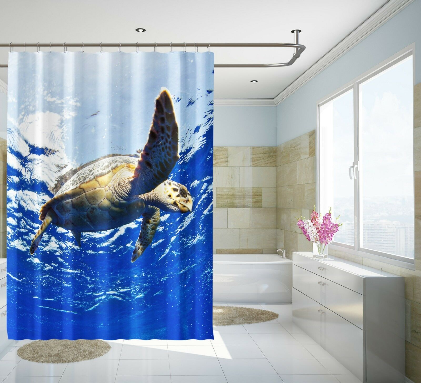3D Tortue de mer 5 Rideau de Douche Imperméable Fibre Salle de Bain Home Windows Toilette
