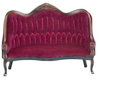Miniature Dollhouse Victorian Sofa Walnut /& Red Fabric 1:12 Scale New