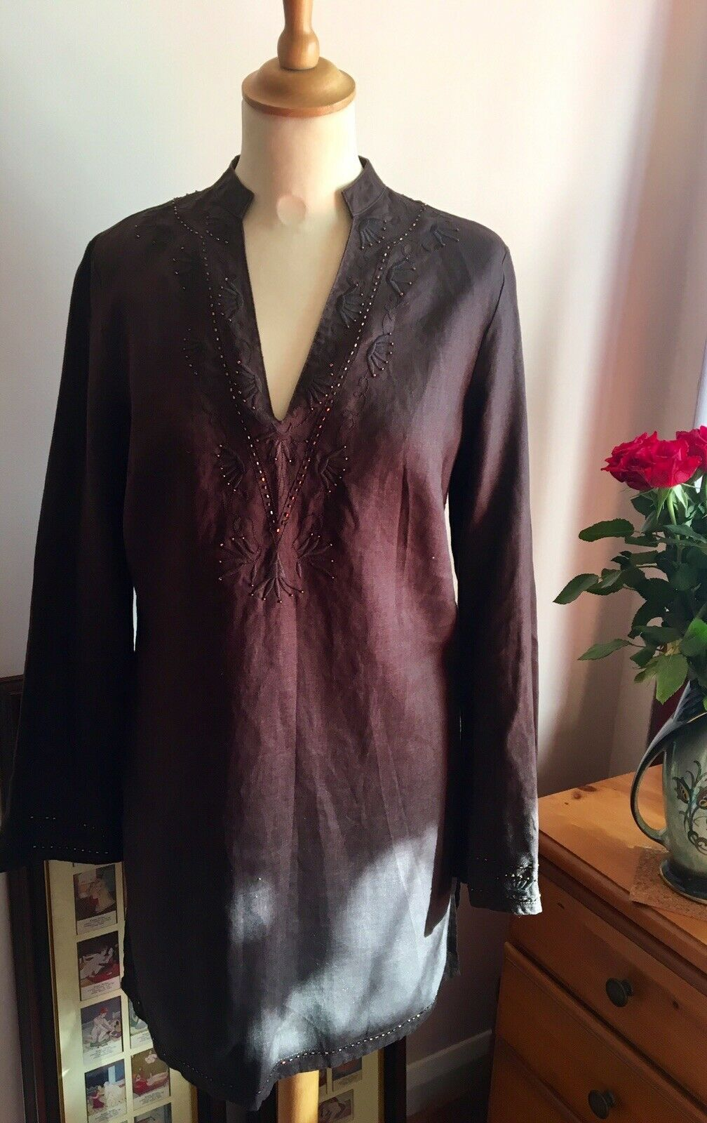 Lepel Pure Linen Kaftan Dress Cover Up Beach Tunic Embellished Dark Brown UK12