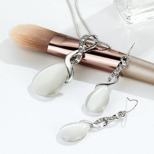 Jewelry Sets Opal Crystal Drop Pendant Necklace Earrings Bridal Wedding Gift JD