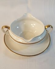 Johnson Brothers GOLD BLACK Pattern round Gravy Boat with Attached Under-plate