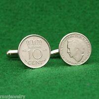 Queen Wilhelmina Vintage 1948 Coin Cufflinks, 10 Cents Netherlands Holland Dutch