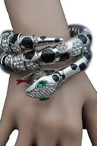 Details About Women Bracelet Silver Metal Wrap Around Wrist Bangle Snake Head Fashion Jewelry