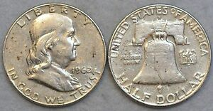 1-Benjamin-Franklin-Random-Year-Silver-Half-Dollar-90-No-Junk-Liberty-Bell