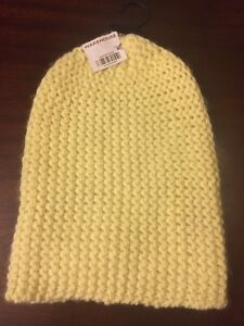 Womens-Warehouse-One-Size-Yellow-Acrylic-Beanie-Hat-Free-Post