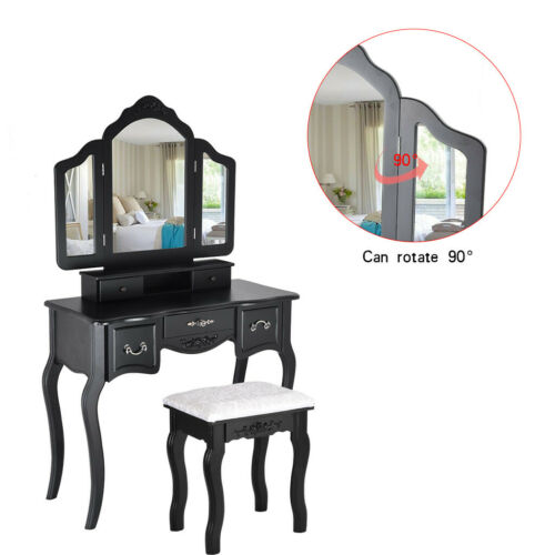 Makeup Vanity Jewelry Dressing Table Set Tri-Folding Mirror Stool Desk w// Drawer